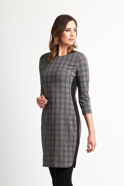 Foil Raspberry/Check Dress-Contrast Side Insert TP9092