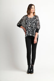 Memo Easy Fit Knit Trim Top in Zebra TP12090