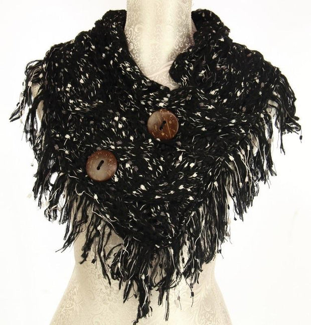Amberlene Textured 2 Button Snood Scarf 3535 Black