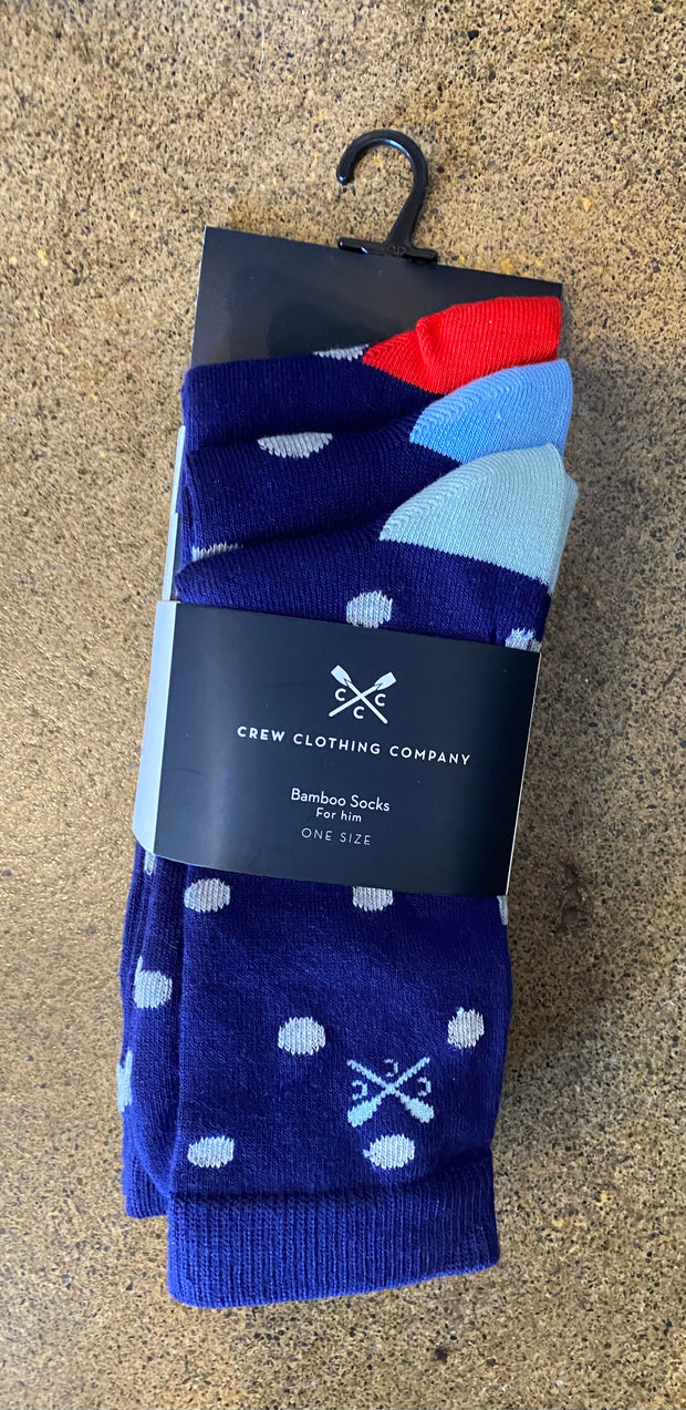 Crew Clothing Company 3 Pack Bamboo Socks Navy Polka Dot 002