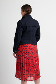 Memo Red Leopard Pleated Midi Skirt TP12181