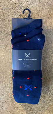 Crew Clothing Company 3 Pack Bamboo Spot Socks Navy/Sky/Red 102