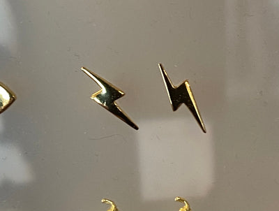 Some Sterling Silver Gold Plated Lightning Bolt Earrings 215