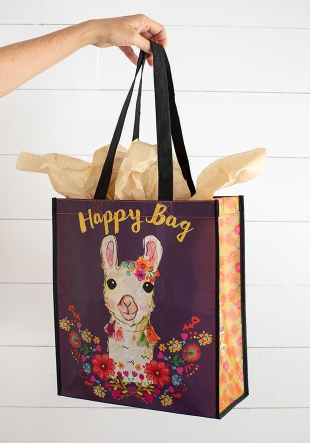 Natural Life Gift Bag Recycle Lge Happy Llama Wreath   121