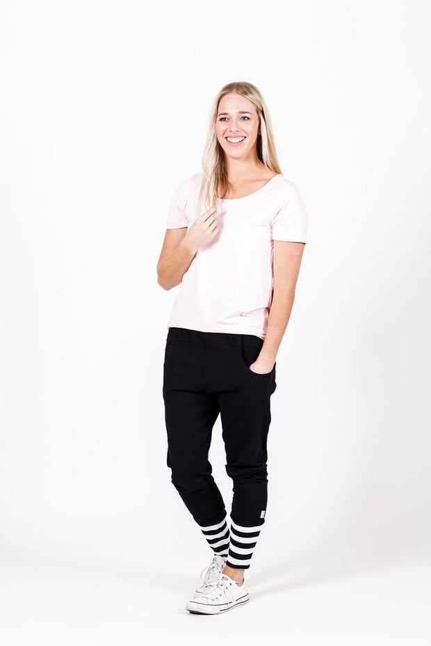 Home-Lee Apartment Pants Black with White X Spot Print and Stripe Cuffs