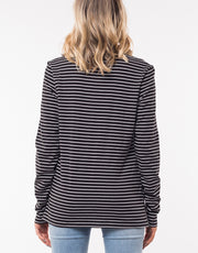 Silent Theory Twisted Long Sleeve Tee in Stripe