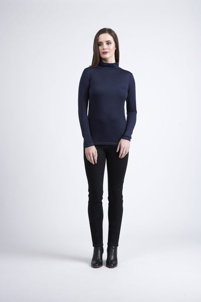 Vassalli Merino Basic Long Sleeve Polo Neck Top Black  4287