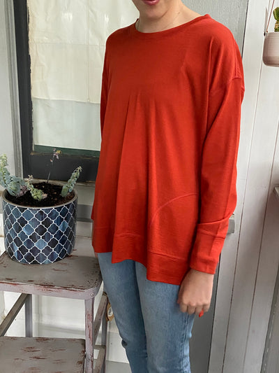 Foil Step Hem Merino Top with Pockets TP10538 in Tangerine