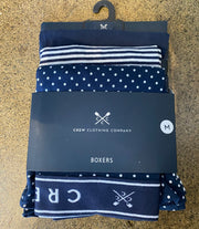 Crew Clothing Company 3 Back Jersey Boxer Navy Dot & Stripes 207