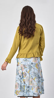 Vassalli Jacket with Frill Hem and Cuff Chartreuse 2047