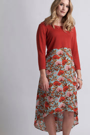 Memo Floral/Burnt Orange Midi Dress with Black Pleats TP11999