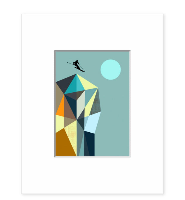 Image Vault Skier on the Geo Mountain by Ellen Giggenbach Pre-Matted Mini Print 35 x 27.5cm