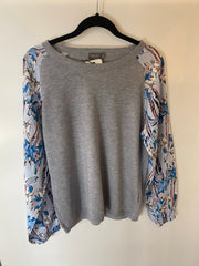 Memo Raglan Jumper in Denim Floral / Silver TP10303