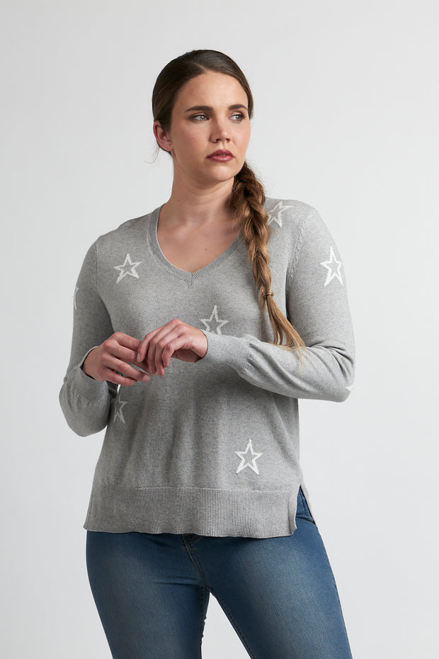 OH3 V Neck Jacquard Detail Jumper in Silver Marle / White TP12119