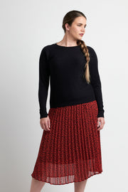 Memo Rust Pebble Pleated Midi Skirt TP12181