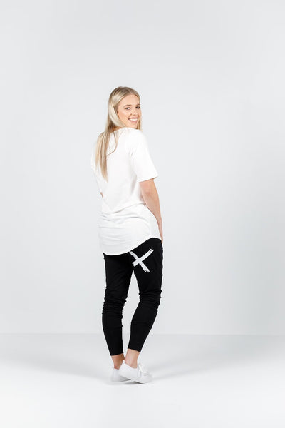 Home-Lee Apartment Pants Black with a Single White Cross