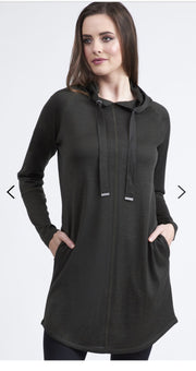 Vassalli 100% Merino Long Sleeve Hooded Tunic Dress Black 4270