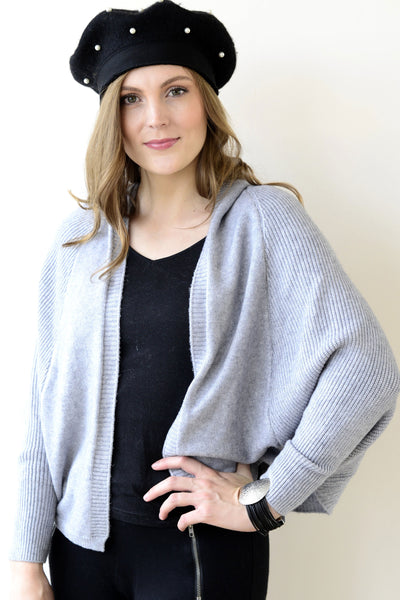 Archer House Hooded Batwing Cardigan in Pale Grey 32