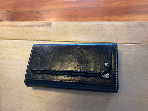 Avenue Ladies Leather Wallet Large  Block Black