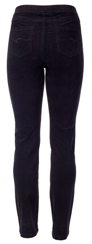 Vassalli Black Slim Leg Pull on Cord Pant 234M