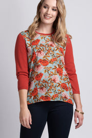Memo Woven Front Jumper with Back Zip Vintage Floral / Orange TP7696