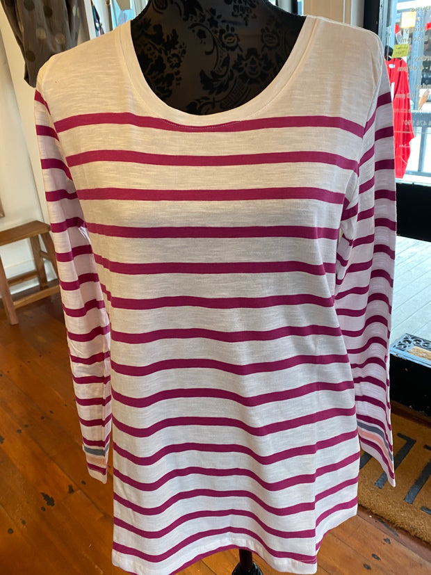 Elm Camilla Stripe Long Sleeve Tee in Port