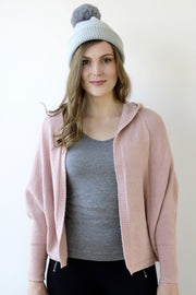 Archer House Hooded Batwing Cardigan in Pale Pink 32
