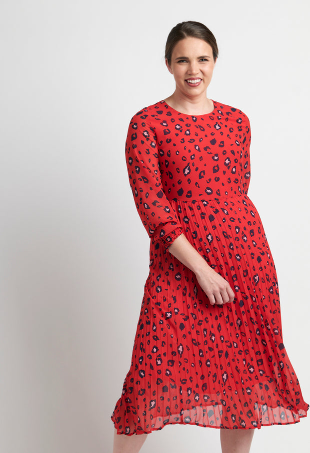 Memo Red Leopard Midi Dress with Pleat Hem TP12142