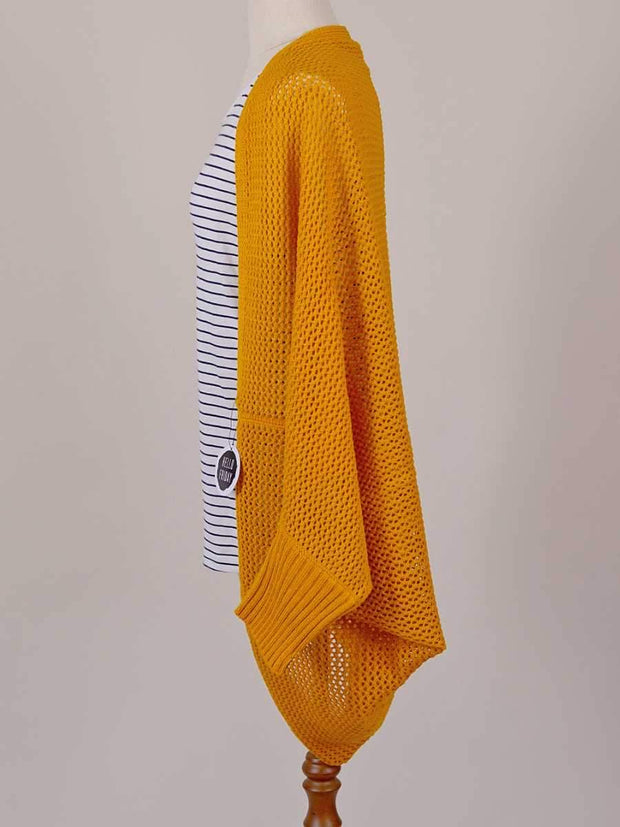 Hello Friday The Crowd Pleaser Batwing Cardi HF103 in Mustard