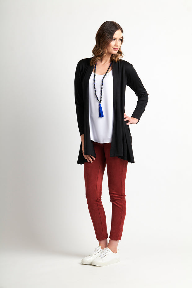 Foil Swing Out Pocket Cardi in Black TP8427