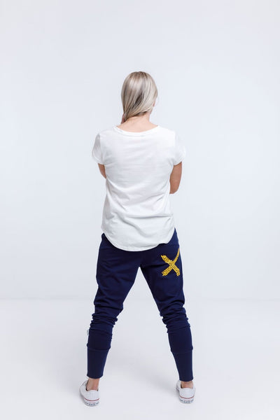 Home Lee Apartment Pants - Evening Blue With Yellow Mini Heart HL100