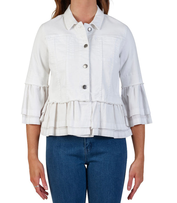 Vassalli Frill Trim Denim Jacket in White 2031