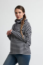 Foil Midnight / Oatmeal Stripe Cowl Neck Sweater TP12207