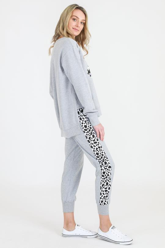 3rd Story Leopard Lips Sweater Grey Marle