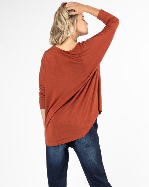 Betty Basics Milan 3/4 Sleeve Top in Terracotta