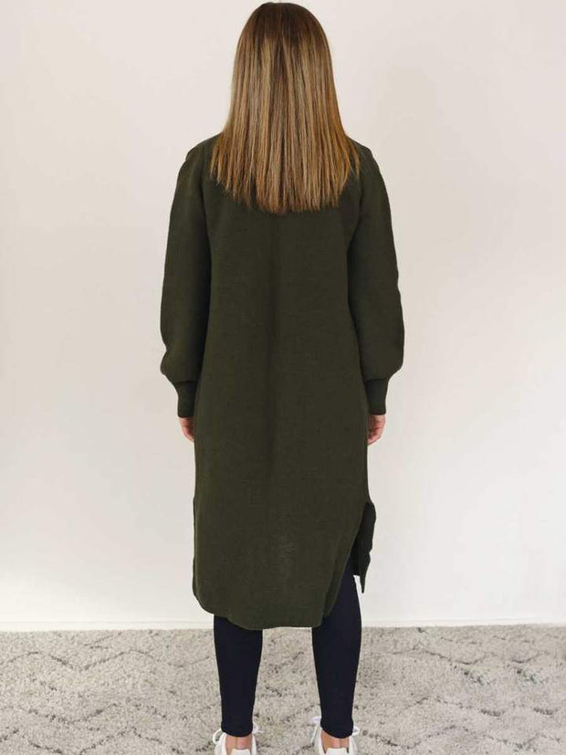 Hello Friday The Longliner Cardi in Olive