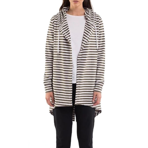 Silent Theory Ashleigh Hooded Cardi in Stripe
