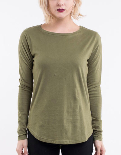 Silent Theory Kara Long Sleeve Tee in Khaki