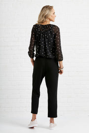Foil Straight Leg Trouser with Split Cuff TP10898 Black