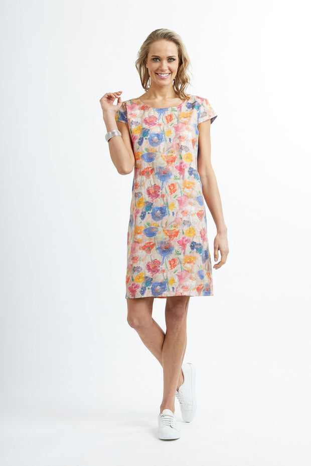 Preen Cap Sleeve Dress in Artist Stroke Print TP11191