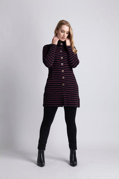 Foil Merino Black Stripe Cardi Long Line Funnel Neck TP11446