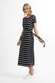 Esplanade Easy Fit Cap Sleeve Dress in Midnight Stripe TP11793