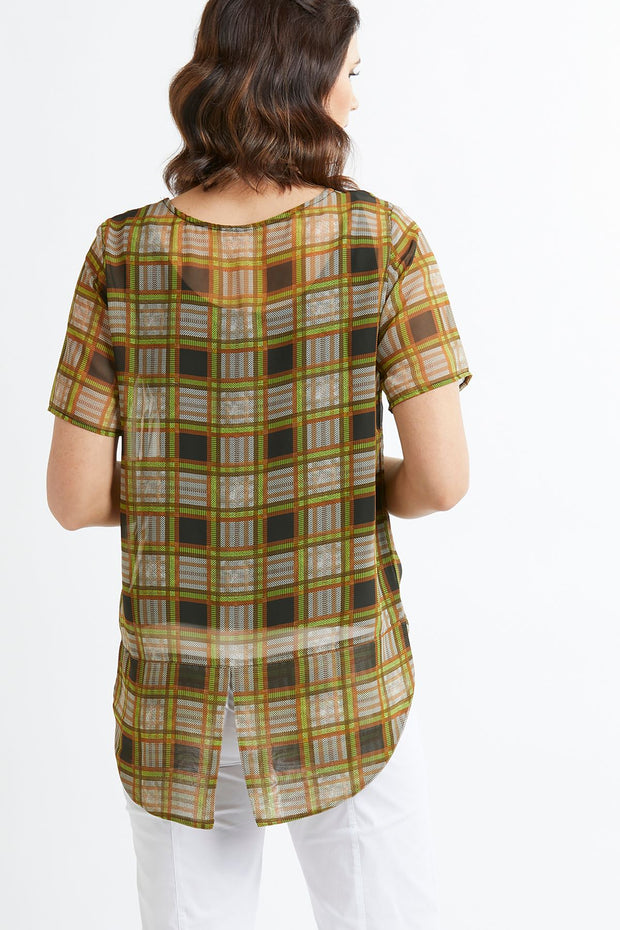 Memo Check Top with Low Back and Split Hem TP9301