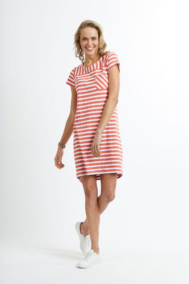 Memo Stripe T-Shirt Dress with Chest Pocket TP8007 in Washed Clay / White Stripe
