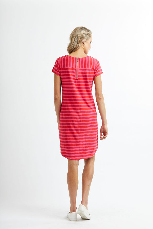 Memo Stripe T-Shirt Dress with Chest Pocket TP8007 in Red/Pink Stripe