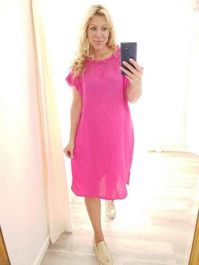 Helga May Hot Pink Tussock Net Plain Linen Dress