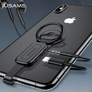 3 in 1 iPhone Adapter - 3.5mm & Lightning port + Ring holder