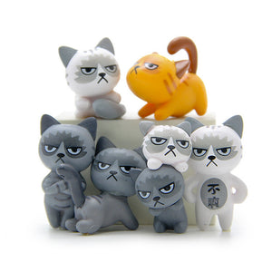 Super Cute!! 6pcs/set 3-4cm Lovely Unhappy Cats Action Figure