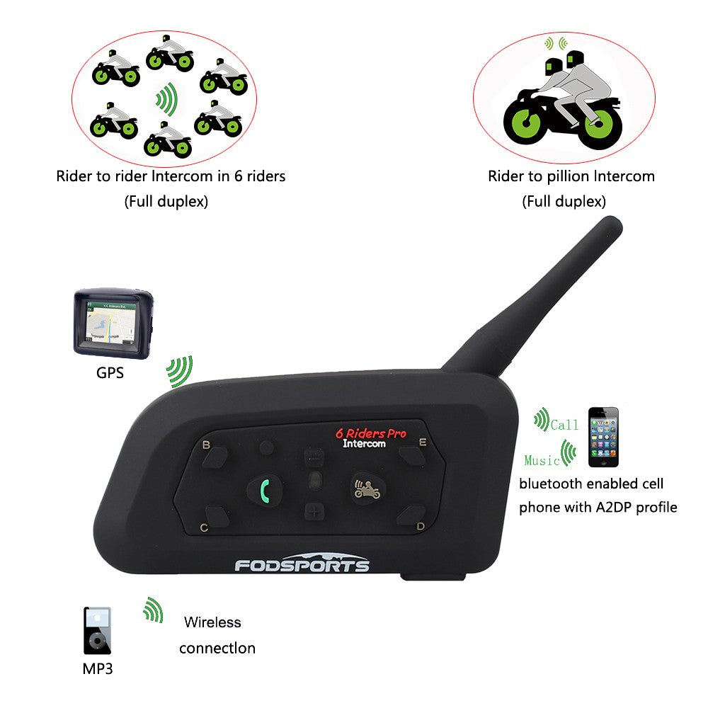 Helmet Bluetooth Headset Intercom Up To 6 Riders