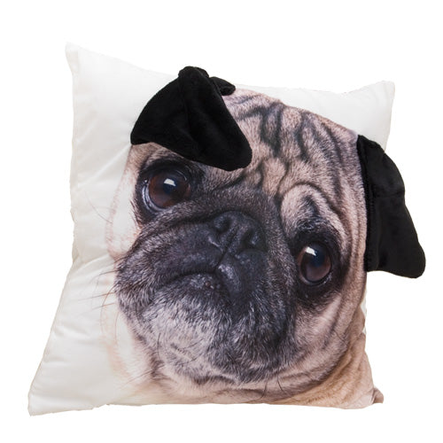 3D Pug Dog Pillow Cover